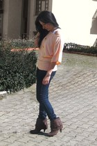blue Primark jeans - peach oxxo shirt