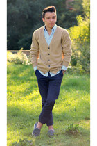 mustard H&M cardigan - teal D&G shirt - navy H&M pants - brown Fossil watch