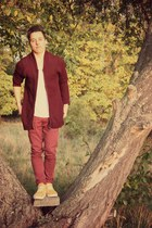 brick red Topman cardigan - suede Converse shoes - ruby red H&M pants