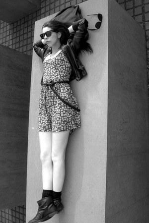 black Zara boots - floral dress Zara dress - leather Zara jacket
