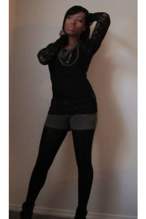 black Charlotte Russe top - army green Gap shorts - black xhiliration boots - ol
