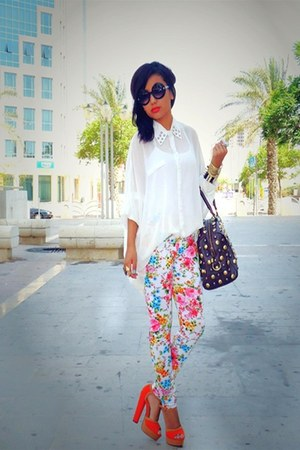 floral 5th Avenue pants - white Forever 21 shirt - brown leather Gucci bag