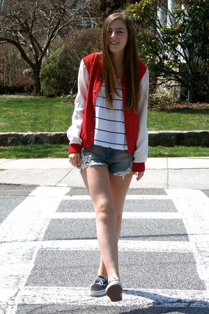 red varsity jacket Forever 21 jacket - white striped Urban Outfitters shirt
