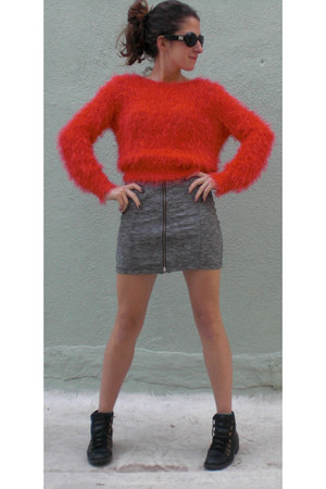 red H&M sweater - black Armani Exchange sunglasses - periwinkle Topshop skirt
