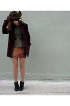 carrot orange skirt - black Febo boots - maroon Forever 21 blazer