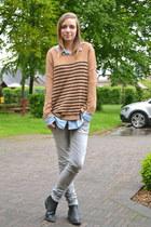 H&M sweater - h&m divided boots - Mango jeans - H&M shirt