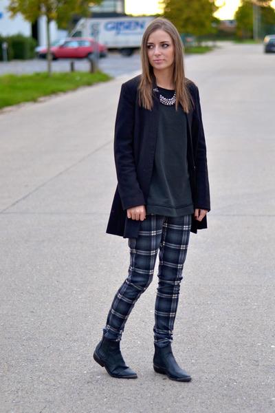 H&M blazer - h&m divided boots - Zara sweater - H&M Trend necklace - Mango pants