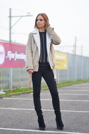 H&M coat - Zara jeans - Mango sweatshirt - Cheap Monday wedges