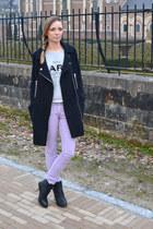 asos coat - Urban Outfitters boots - asos pants - Mango sweatshirt