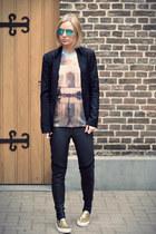 Mr Gugu t-shirt - Bershka blazer - Ray Ban sunglasses - H&M pants - asos loafers
