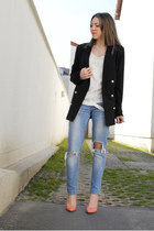 black H&M jacket - sky blue cutted out Bershka jeans - bubble gum H&M heels