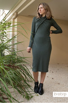 dark khaki draped & other stories dress