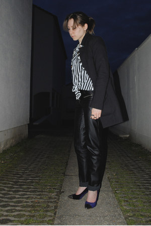 striped H&M shirt - black leather like pants - navy velvet H&M heels