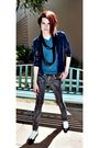 Silver-kill-city-jeans-blue-bdg-t-shirt-blue-shirt-black-scarf-shoes