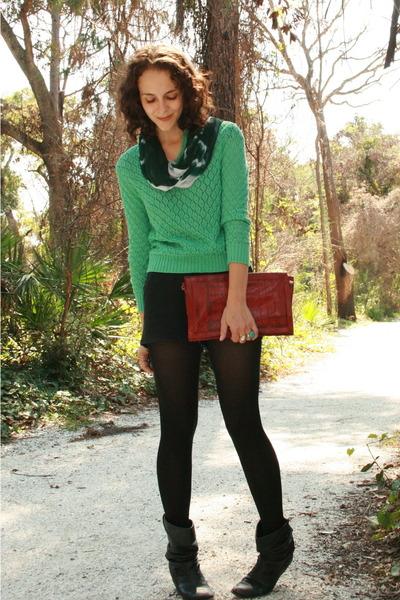 green sweater - black American Apparel shorts - black walgreens tights - black M