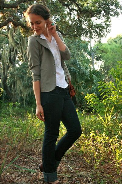 beige vintage blazer - white TJ Maxx blouse - blue TJ Maxx jeans - brown Steve M