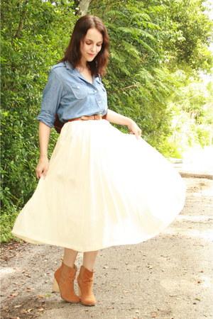 ivory skirt - camel boots - brown purse - camel belt - sky blue blouse