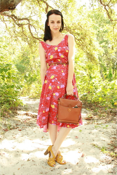 red Twitch Vintage dress - brown Dooney & Bourke purse - brown leather thrifted