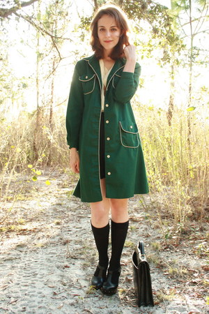 green httpstoresebaycomTwitchVintage coat - black satchel thrifted bag