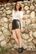 white vintage blouse - black vintage shorts - silver Rings accessories - black D