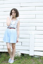 white vintage blouse - blue httpstoresebaycomTwitchVintage skirt - brown thrifte