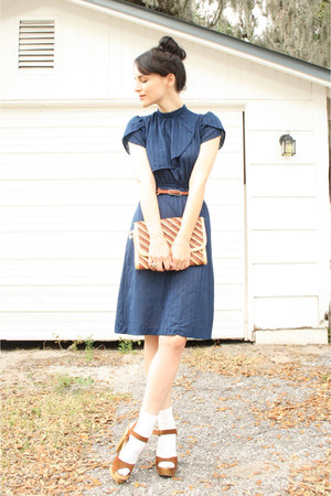 navy vintage dress - tan striped straw thrifted purse