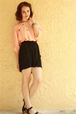 pink httpstoresebaycomTwitchVintage blouse - black Target skirt - black Zara sho