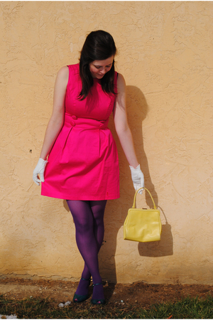 pink Dillards dress - purple Steve Madden tights - blue Bitten by SJP shoes - ye