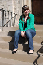 green thrifted cardigan - blue Old Navy jeans - black Urban Outfitters t-shirt -