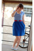 blue Old Navy dress - red Belt belt - blue UO shoes