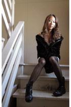 furry Nine West jacket - Spring boots - Forever21 dress