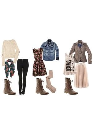 pink shirt - eggshell shirt - dark brown H&M boots - black dress - coat