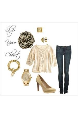 dark khaki scarf - gray jeans - eggshell sweater - camel heels