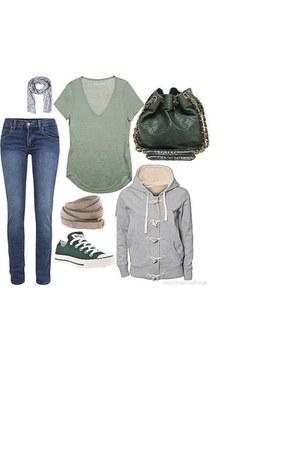 jeans - sky blue scarf - dark green bag - teal sneakers - heather gray skirt