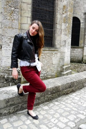 black Topshop jacket - crimson The Kooples scarf - crimson Promod pants