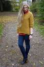 Navy-h-m-jeans-orange-h-m-sweater-red-h-m-blouse-black-h-m-heels