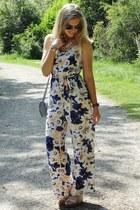 light orange floral jumpsuit new look pants - sky blue Primark bag