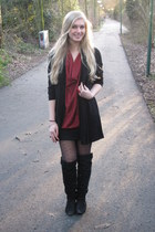 Scapino boots - H&M coat - H&M tights - H&M ring - H&M top - H&M vest