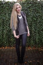 gray faux fur H&M vest - black H&M boots - gray cable knit H&M sweater