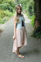 beige Primark skirt - sky blue H&M vest - black H&M top