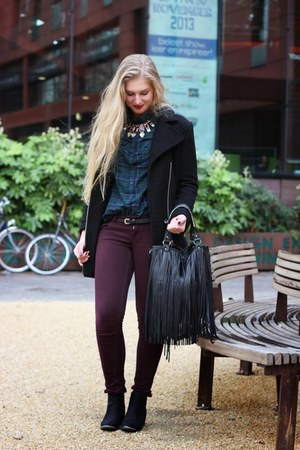 black H&M shoes - black H&M coat - black fringe H&M bag