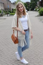off white fringed kimono Primark vest - sky blue Primark jeans