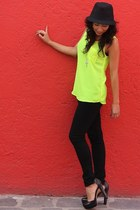 lime green pull&bear blouse - black Vince Camuto heels