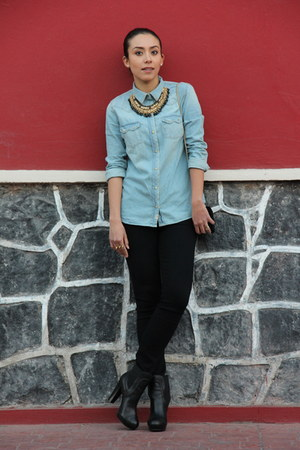 blue denim Zara shirt - black Westies boots