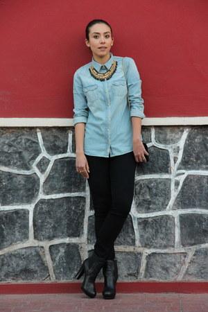 blue denim Zara shirt - black Westies boots