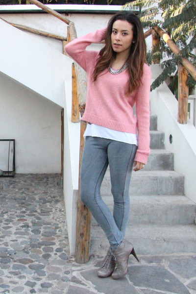 pink H&M sweater - heather gray lace booties Nine West boots