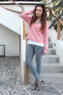 Heather-gray-lace-booties-nine-west-boots-pink-h-m-sweater