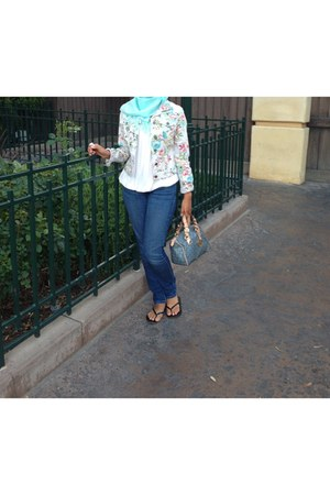 floral Jessica Simpson jacket - sky blue Michael Kors purse - silver flower ring