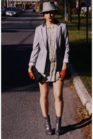 heather gray baia blazer - French Connection dress - Spring boots - vintage hat 