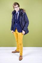 navy Matinique coat - bronze lion shoes - navy Matinique blazer